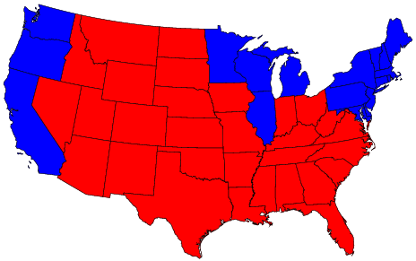red and blue map of the US